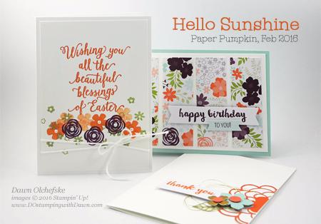 Hello Sunshine Paper Pumpkin kit alternative ideas by Dawn Olchefske #dostamping #stampinup