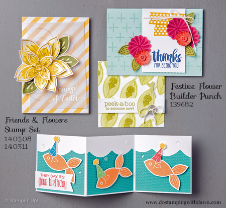 Festive Flower Builder Punch 03/15/2016 Weekly Deal cards shared by Dawn Olchefske #dostamping #stampinup