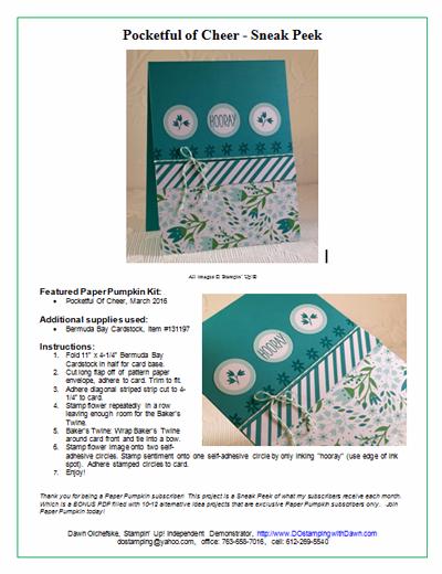Pocketful of Cheer Paper Pumpkin Bonus Sneak Peek shared by Dawn Olchefske #dostamping #stampinup