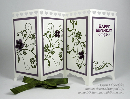 Flowering Flourishes Screen Divider card created by Dawn Olchefske, #dostamping #stampinup