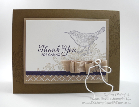 An Open Heart Thank You with Ribbon Embellishment card created by Dawn Olchefske, #dostamping, #stampinup