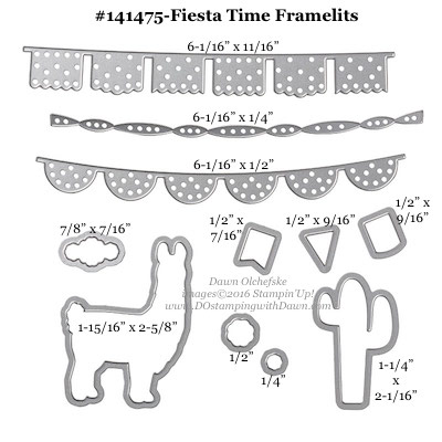 Fiesta Time Framelits measurements provided by Dawn Olchefske #dostamping #stampinup