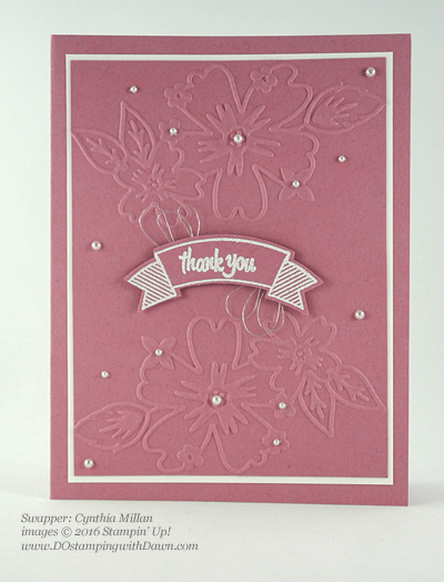 Thoughtful Banners swap card shared by Dawn Olchefske #dostamping #stampinup (Cynthia Millan)