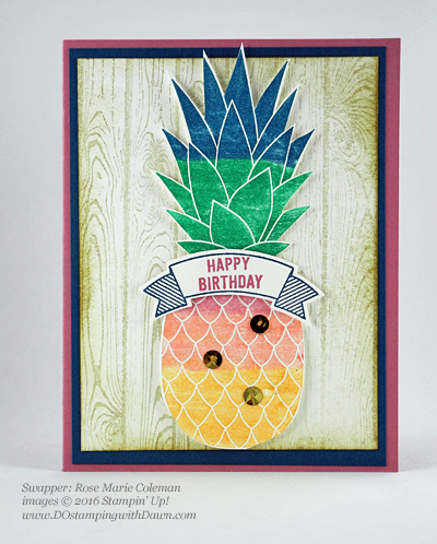 Pineapple with Thoughtful Banners swap card shared by Dawn Olchefske #dostamping #stampinup (Rose Marie Coleman)