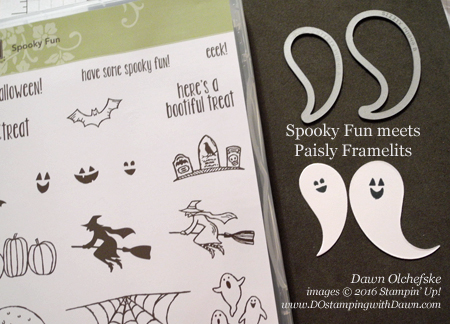 Spooky Fun stamp set meets Paisley Framelits to create fun ghosts by Dawn Olchefske #dostamping #stampinup