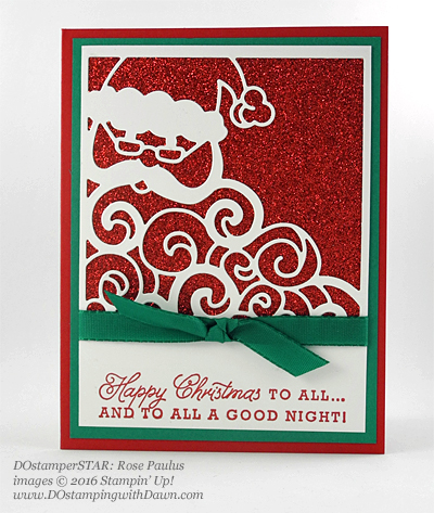 Greetings from Santa swap card shared by Dawn Olchefske #dostamping (Rose Paulus)