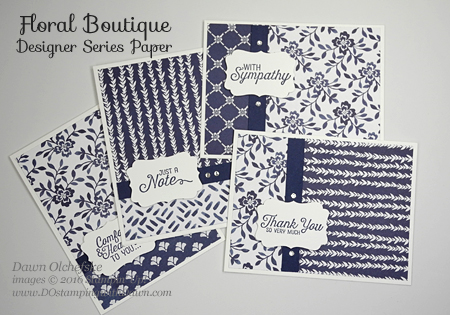 Stampin' Up! Floral Boutique Designer Series Paper cards created by Dawn Olchefske #dostamping
