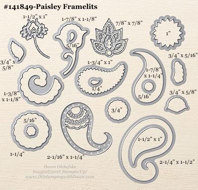 Paisley Framelits sizes shared by Dawn Olchefske #dostamping #stampinup