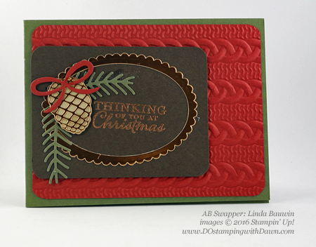 Stampin' Up! Christmas Pines Bundle swap cards shared by Dawn Olchefske #dostamping #stampinup (Linda Bauwin)