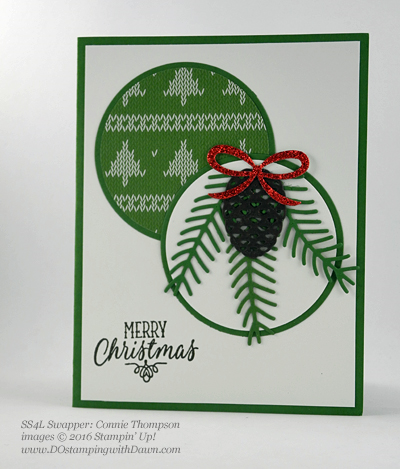 Stampin' Up! Christmas Pines Bundle swap cards shared by Dawn Olchefske #dostamping #stampinup (Connie Thompson)