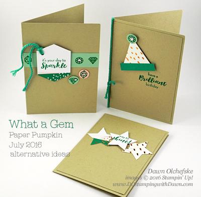 Alternative ideas for What a Gem Paper Pumpkin Kit for June 2016 from Dawn Olchefske #dostamping #stampinup