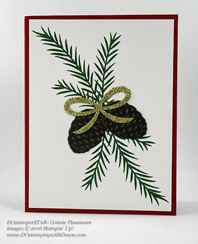Christmas Pines Bundle card shared by Dawn Olchefske #dostamping (Connie Plaumann)