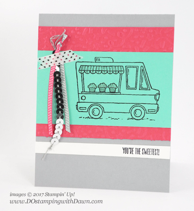 Stampin' Up! Sale-a-Bration, Tasty Trucks card shared by Dawn Olchefske #dostamping