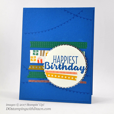Stampin' Up! 2017 Animal Party Washi Tape Birthday card shared by Dawn Olchefske #dostamping