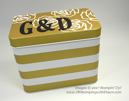 Stampin' Up! FREE Sale-a-Bration card tin receipe box shared by Dawn Olchefske #dostamping