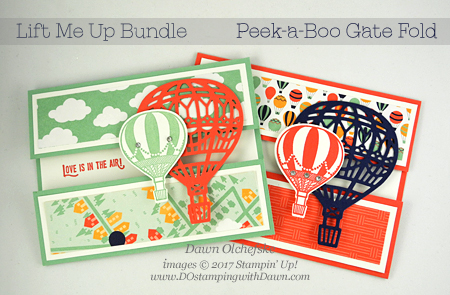 Stampin' Up! Lift Me Up Bundle Peek-a-Boo gate card by Dawn Olchefske #dostamping