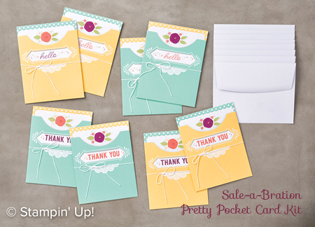 Stampin' Up! FREE Sale-A-Bration Pretty Pocket Card Kit shared by Dawn Olchefske #dostamping