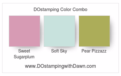 Stampin' Up! Sweet Sugarplum, Soft Sky, Pear Pizzazz color combo by Dawn Olchefske #dostamping