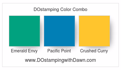 Stampin' Up! color combo: Emerald Envy, Pacific Point, Crushed Curry #dostamping