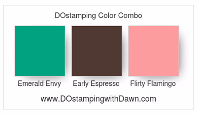 Stampin' Up! Color Combo Emerald Envy, Early Espresso, Flamingo Flamingo #dostamping