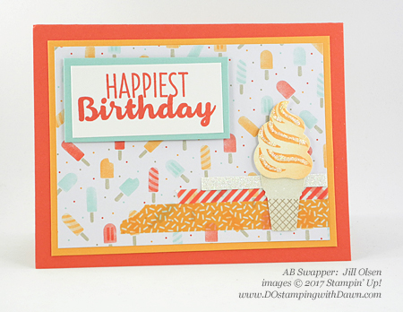 Stampin' Up! Cool Treats Bundle & Suite swap cards shared by Dawn Olchefske #dostamping (Jill Olsen)