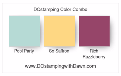 Stampin' Up! Pool Party, So Saffron, Rich Razzleberry color combo, Dawn Olchefske #dostamping