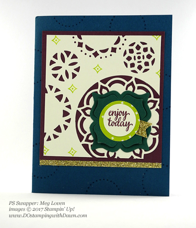 Stampin' Up! Eastern Palace Bundle swap cards shared by Dawn Olchefske #dostamping (Meg Loven)