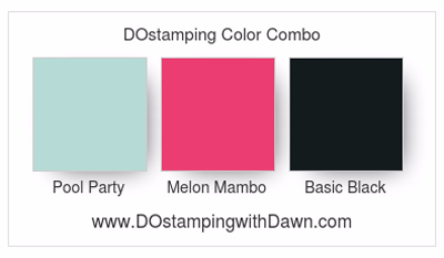 Stampin' Up! color combo Pool Party, Melon Mambo & Basic Black #dostamping