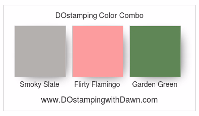 Stampin' Up! color combo Smoky Slate, Flirty Flamingo, Garden Green #dostamping