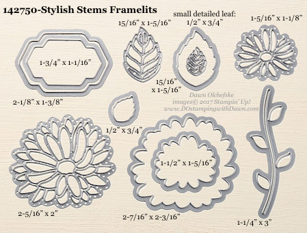 Stampin' Up! Stylish Stems Framelits Dies sizes shared by Dawn Olchefske #dostamping