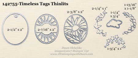Stampin' Up! Timeless Tags Thinlits Dies sizes shared by Dawn Olchefske #dostamping