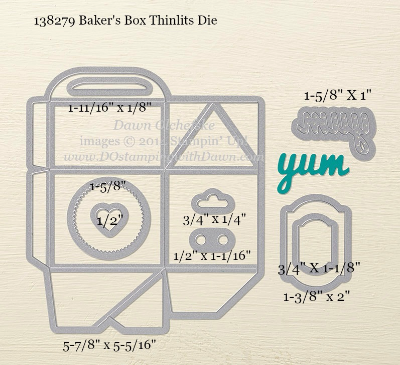 Bakers Box Thinlit Sizes shared by Dawn Olchefske #dostamping #stampinup