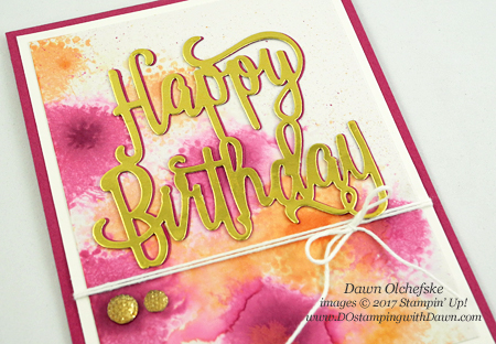 Fun glossy cardstock technique with Stampin' Up!'s Happy Birthday thinlit card by Dawn Olchefske #dostamping