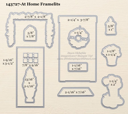 Stampin' Up! At Home Framelits Dies sizes shared by Dawn Olchefske #dostamping