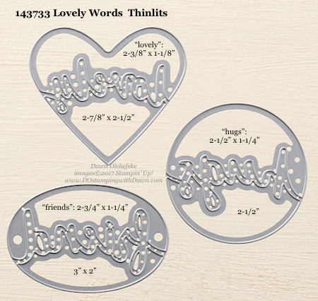 Stampin' Up! Lovely Words Thinlits Dies sizes shared by Dawn Olchefske #dostamping