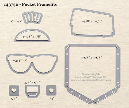 Stampin' Up! Pocket Framelit Dies sizes shared by Dawn Olchefske #dostamping