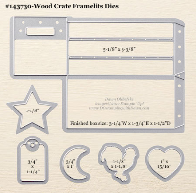Stampin' Up! Wood Crate Framelits Dies sizes shared by Dawn Olchefske #dostamping