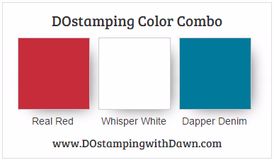 Stampin' Up! color combo Real Red, Dapper Denim, Whisper White #dostamping