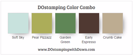 Stampin' Up! color combo Soft Sky, Pear Pizzazz, Garden Green, Early Espresso, Crumb Cake #dostamping