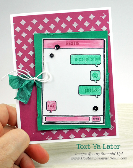 Stampin' Up! Text Ya Later cards shared by Dawn Olchefske #dostamping