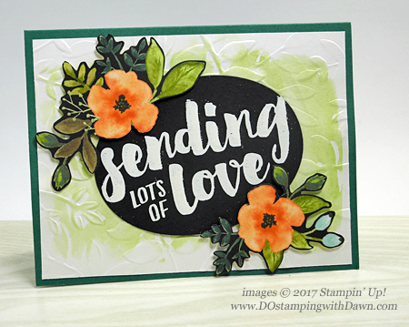 Stampin' Up! Lots of Love stamp set with Whole Lot of Lovely DSP card shared by Dawn Olchefske #dostamping