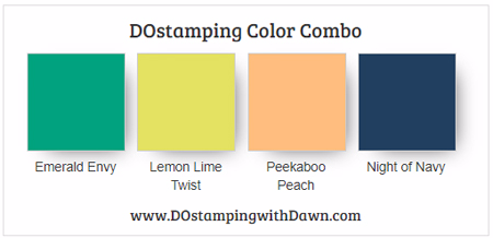 Stampin' Up! color combo Emerald Envy, Lemon Lime Twist, Peekaboo Peach, Night of Navy #dostamping
