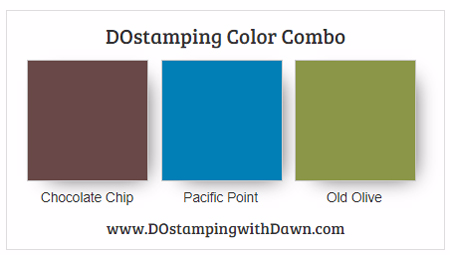 Stampin' Up! color combo Chocolate Chip, Pacific Point, Old Olive #dostamping