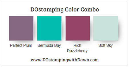 Stampin' Up! Color Combo Perfect Plum, Bermuda Bay, Rich Razzleberry, Soft Sky #dostamping