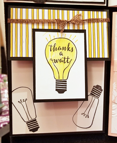 Stampin' Up! Pick a Pattern Designer Series Paper and Watts of Occasions stamp set shared by Dawn Olchefske #dostamping (Thailand display board)