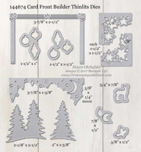 Stampin' Up! 144674 Card Front Builder Thinlit Dies Measurements by Dawn Olchefske #dostamping
