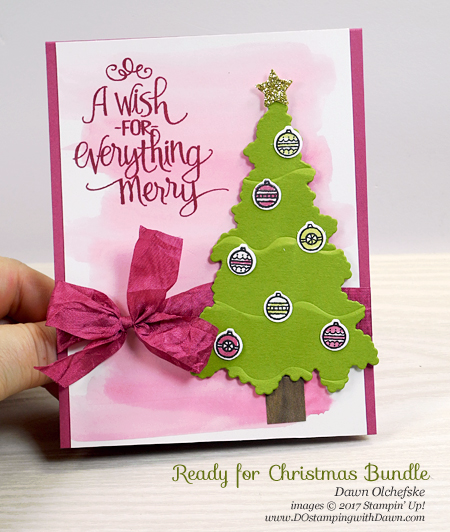 Stampin' Up! Ruffled Dynamic Folder and Ready for Christmas Bundle card by Dawn Olchefske for DOstamperSTARS Thursday Challenge #DSC246 #dostamping #stampinup #christmascards #cardmaking #readyforchristmas #christmasstaircase #2017holiday