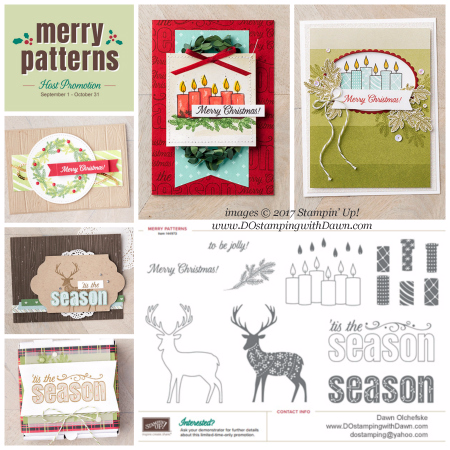 Stampin' Up! Merry Patterns Host Stamp Set samples hared by Dawn Olchefske #dostamping  #stampinup #handmade #cardmaking #stamping #diy #merrypatterns #christmas