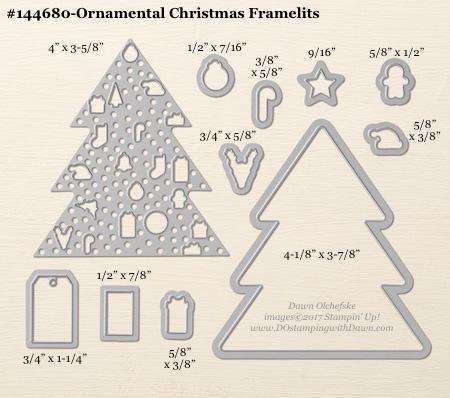 Ornamental Christmas Framelits Dies sizes shared by Dawn Olchefske #dostamping #stampinup #framelits #thinlits #bigshot