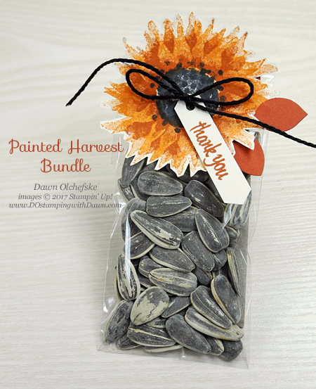 Stampin' Up! Painted Harvest Bundle treat pouch by Dawn Olchefske for DOstamperSTARS Thursday Challenge #DSC248 #dostamping #stampinup #handmade #treatpouch #stamping #diy #packaging #paintedharvest #leafpunch #sunflower